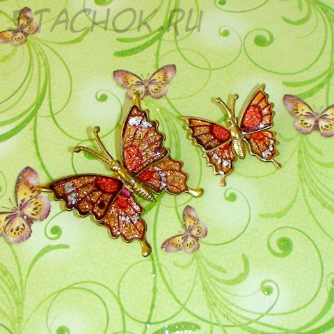 """Парные броши """"Оранжевые бабочки"""" под золото, эмаль"""
