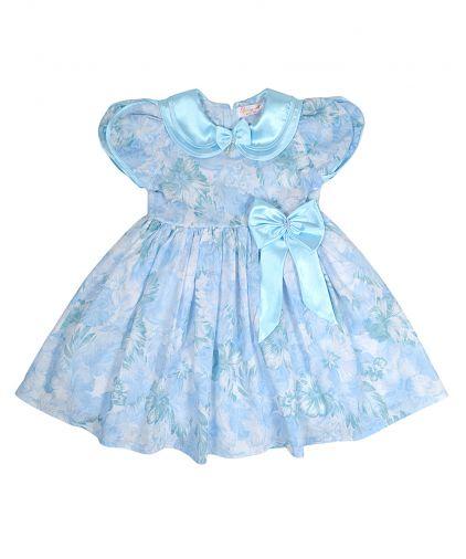 Голубое воздушное платье с атласным воротником и бантом