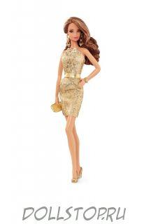 Коллекционная кукла Барби Золотое платье (Городское сияние) - The Barbie Look  Collection, City Shine  Barbie Doll - Gold Dress