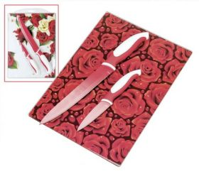 """Подарочный набор """"Розы"""" Разделочная доска + 2 нoжa"""