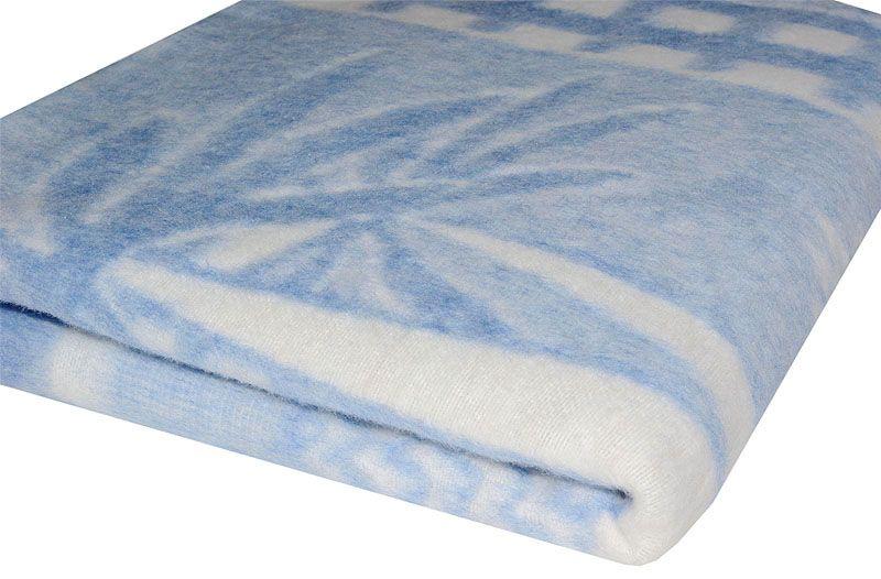 Бело-синее детское байковое одеяло 140*100