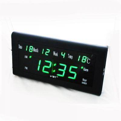 VST795W-4 часы 220В зел.цифры с б.п.(дата, температура)