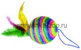Мяч с пером и петелькой 5см пластик, нейлон