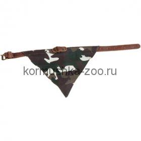 Flamingo Ошейник для собак кожа + камуфл. платок 42 см