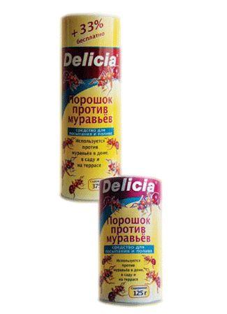 Delicia Активная пищевая гранулированная приманка для муравьев в виде порошка 125 гр