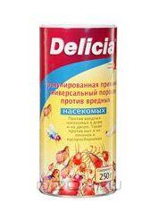 Delicia Активная пищевая гранулированная приманка против вредных насекомых в порошке (или разводится д/полива) 4-х кратная концентр. 250гр.