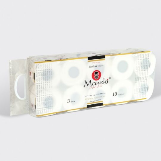 Maneki Бумага туалетная, серия Black&White (в БЕЛОМ дизайне), 3 слоя, 214 л., 30 м, гладкая, белая, с ароматом иланг-иланг, 10 рулонов/упаковка