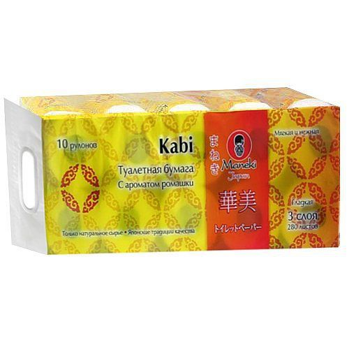 Maneki Бумага туалетная, серия Kabi, 3 слоя, 280 л., 39.2 м, гладкая, белая с ароматом Ромашки 10 рулонов/упаковка