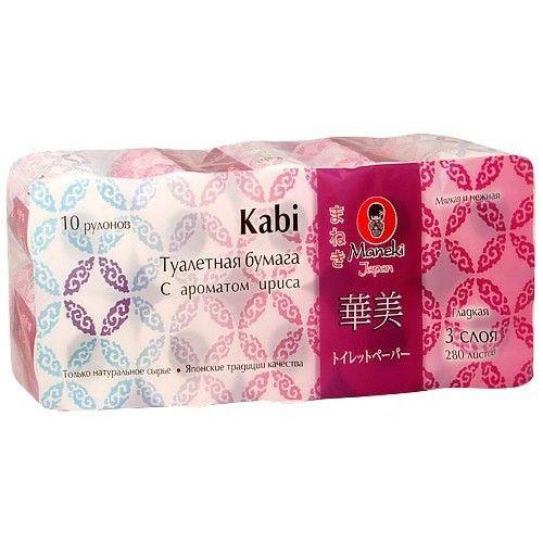 Maneki Бумага туалетная, серия Kabi, 3 слоя, 280 л., 39.2 м, гладкая, белая с ароматом Ириса, 10 рулонов/упаковка