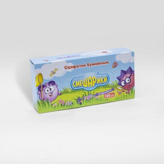 Maneki Салфетки бумажные, ТМ Смешарики, детские салфетки, 2 слоя, белые, 130 шт./коробка