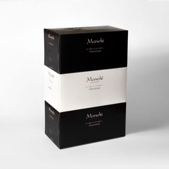 Maneki Салфетки бумажные, серия Black&White, с ароматом иланг-иланг, 2 слоя, белые, 224 шт./коробка