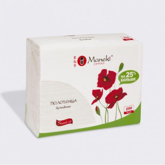Maneki Полотенца кухонные бумажные, серия Sumi-e, белые, Z-сложения (230х230мм), 250 шт./упаковка