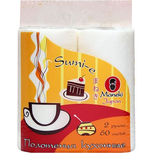 Maneki Полотенца кухонные бумажные, серия Sumi-e, 2 слоя, 60 л., белые, 2 рулона/упаковка