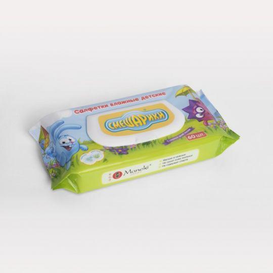 Maneki Салфетки влажные, ТМ Смешарики, детские с экстрактом алоэ вера и ромашки, 60 шт./упаковка