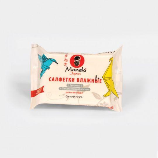 Maneki Салфетки влажные, серия Kaiteki, для всей семьи с витамином Е и увлажняющим лосьоном, 25 шт./упаковка