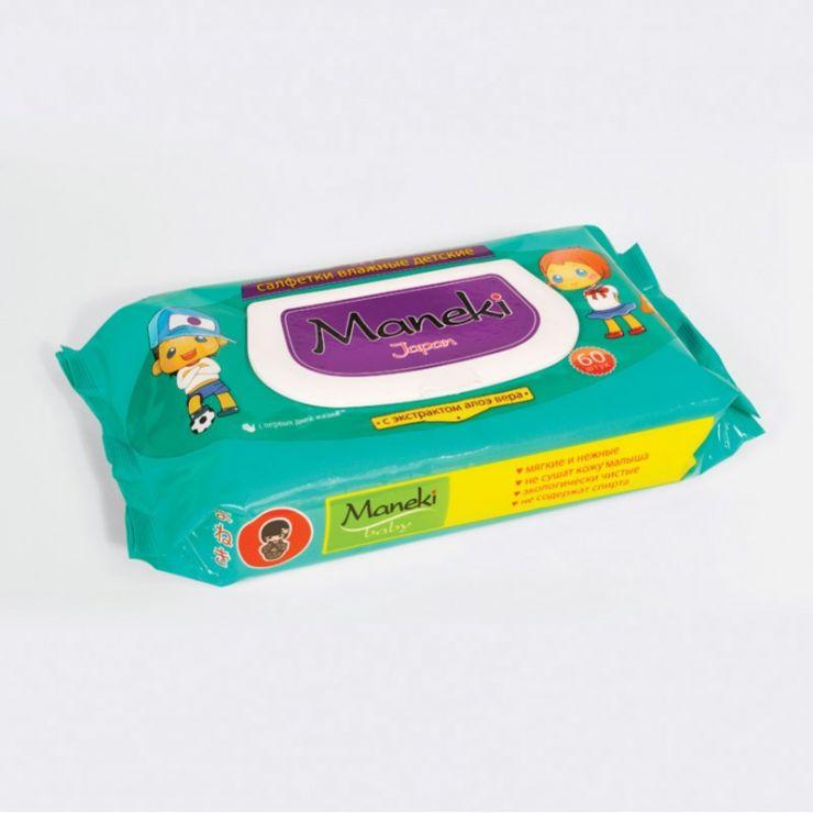 Maneki Салфетки влажные, серия Kaiteki, детские с экстратом АЛОЭ ВЕРА, 60 шт./упаковка