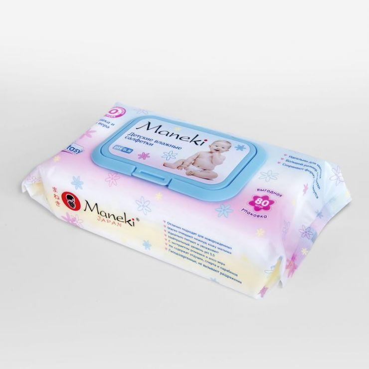 Maneki Салфетки влажные, серия Fantasy детские с экстрактом ромашки и алоэ вера, 80 шт./упаковка