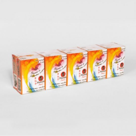 Maneki Платочки бумажные, серия Sumi-e, 3 слоя, 10 шт. в пачке, с ароматом фруктов, 10 пачек/упаковка