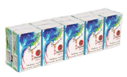 Maneki Платочки бумажные, серия Sumi-e, 3 слоя, 10 шт. в пачке, без аромата, 10 пачек/упаковка