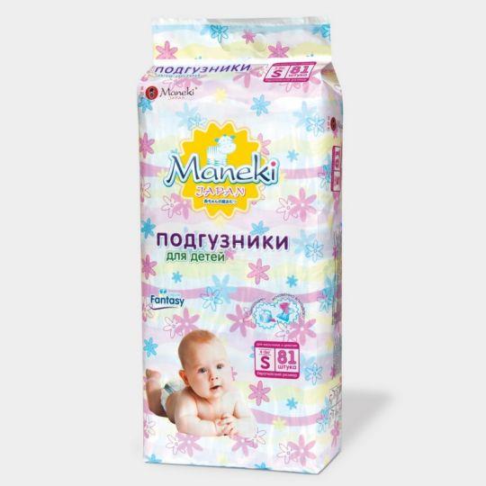 Maneki Подгузники детские одноразовые, серия Fantasy, размер S, 4-8 кг, 81 шт./упаковка