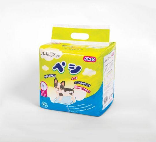 Maneki Пеленки для домашних животных NekiZoo, впитывающие одноразовые, размер M(60х60см), 20 шт./упаковка