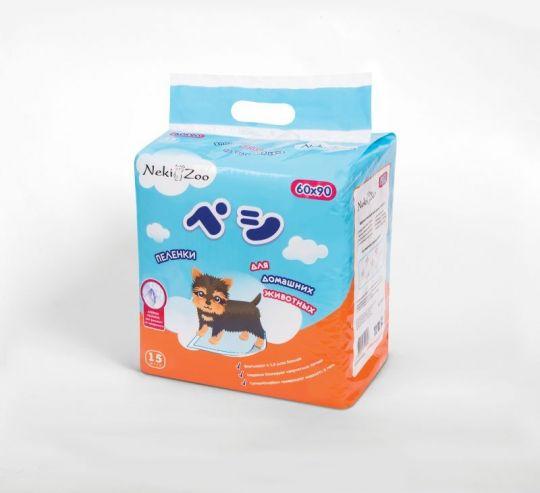 Maneki Пеленки для домашних животных NekiZoo, впитывающие одноразовые, размер S(60x90см), 15 шт./упаковка