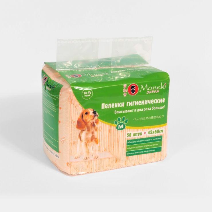 Maneki Пеленки гигиенические для домашних животных, серия Yo-Yo, размер M, 45х60 см, 50 шт./упаковка