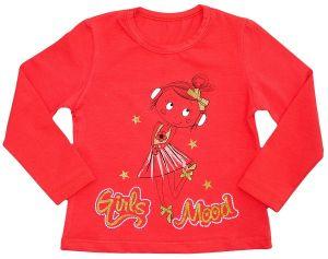 Лонгслив для девочки красный с девочкой и золотым напылением на груди АВ стайл