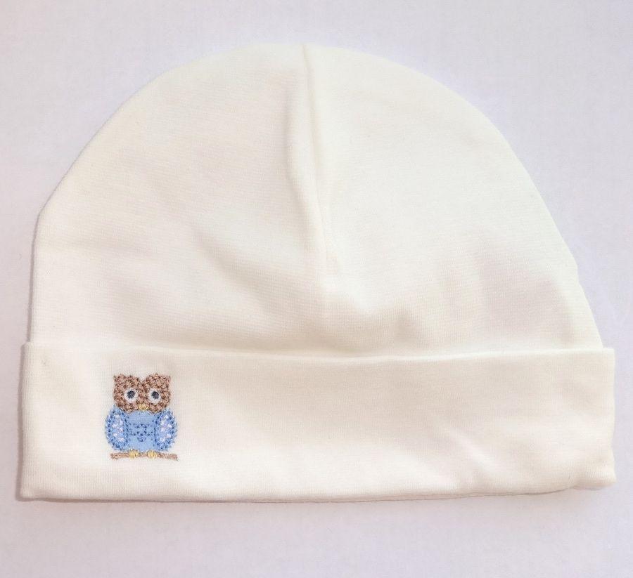 Белая шапка Сова для новорожденного