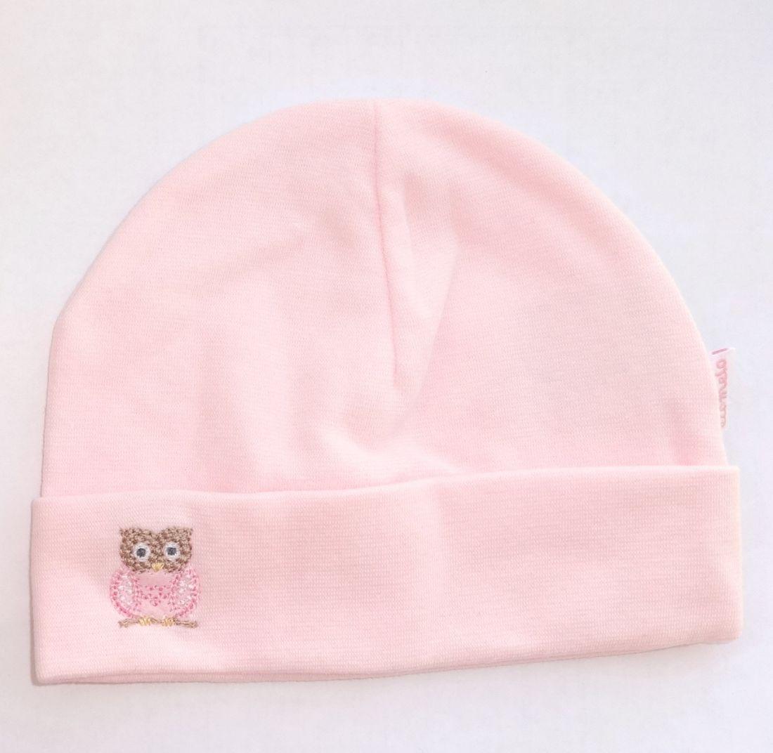 Розовая шапочка для новорожденной девочки