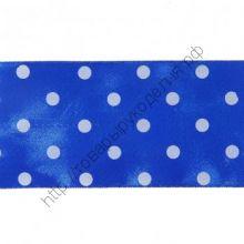 лента атласная синяя в белый горох 4см