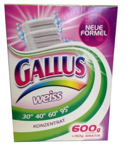 Gallus Концентрированный стиральный порошок для стирки белого белья 8 стирок 750 г