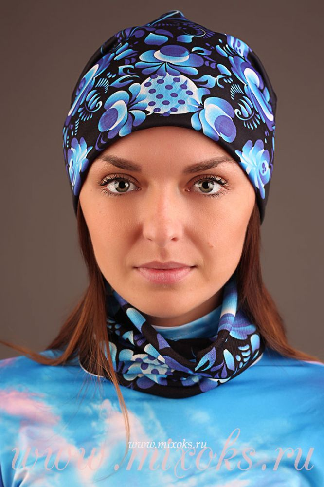 """Круговой шарф """"Гжель классик"""" черный"""