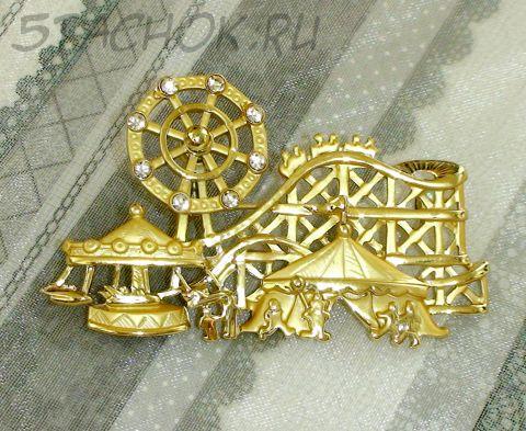 "Брошь ""Лунапарк"" под золото/сваровски"