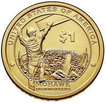 1 доллар США 2015 год Серия Доллар Сакагавеи Индеец из племени Mohawk на строительстве небоскреба в Нью-Йорке