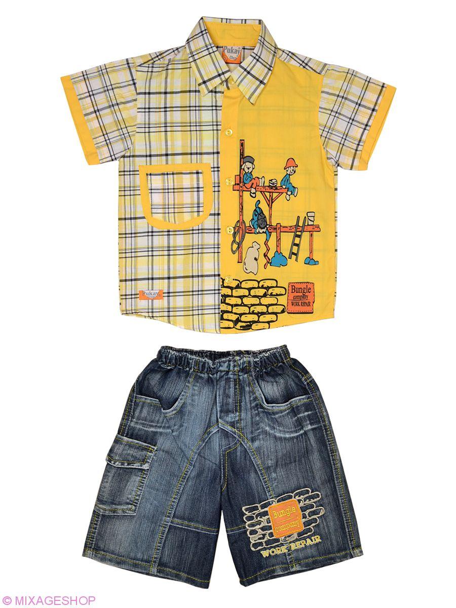 Костюм  из клетчатой рубашки и джинсовых шорт