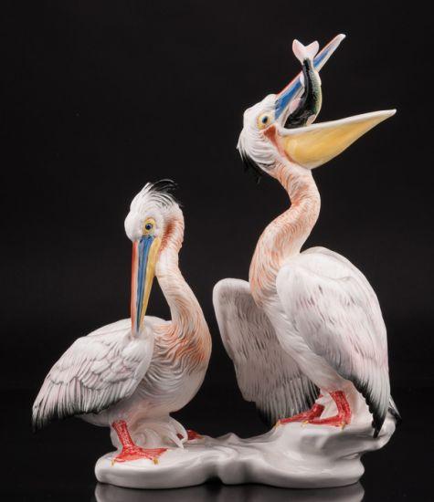 Фарфоровая статуэтка птиц Два пеликана производства Karl Ens, Германия