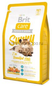 Brit Care Cat Sunny для длинношерстных кошек лосось/рис