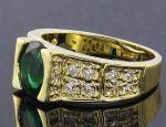 Позолоченное кольцо с искусственными изумрудом и бриллиантами