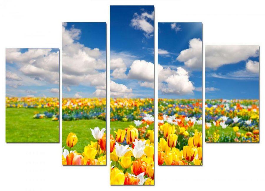 Модульная картина Поле в тюльпанах