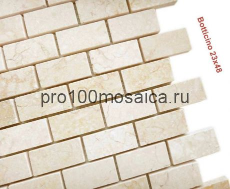 Botticino 23 x 48 POL Мозаика серия Pietrine Stone, размер, мм: 298*298*7 (Caramelle)
