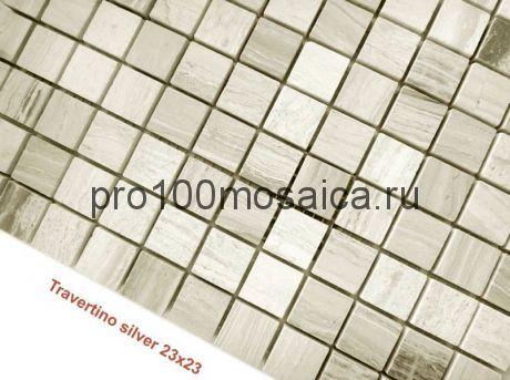 Travertino Silver 23 x 23 MAT Мозаика серия Pietrine Stone, размер, мм: 298*298*4 (Caramelle)