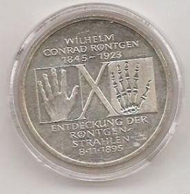 100 лет со дня рождения Вильгельма Конрада Рентгена 10 марок ФРГ 1995 D