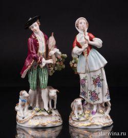 Пастушки, пара с флейтой и волынкой, Дрезден, Германия, сер. 20 в