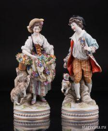 Пасторальная пара с овечкой и собачкой, Ernst Bohne Sohne, Германия, кон. 19, нач. 20 в