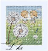 Схема для вышивки крестом Нежные иллюстрации - Одуванчики.
