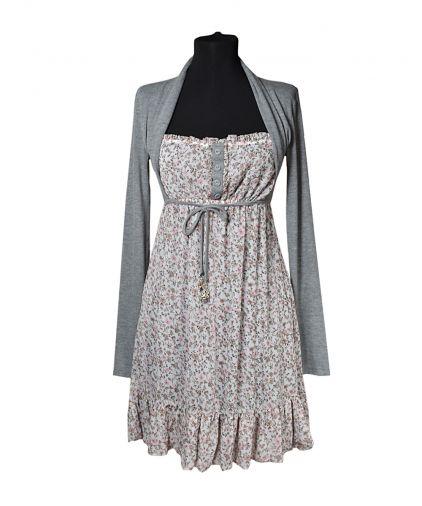 Комбинированное платье из шифонового сарафана и трикотажного болеро