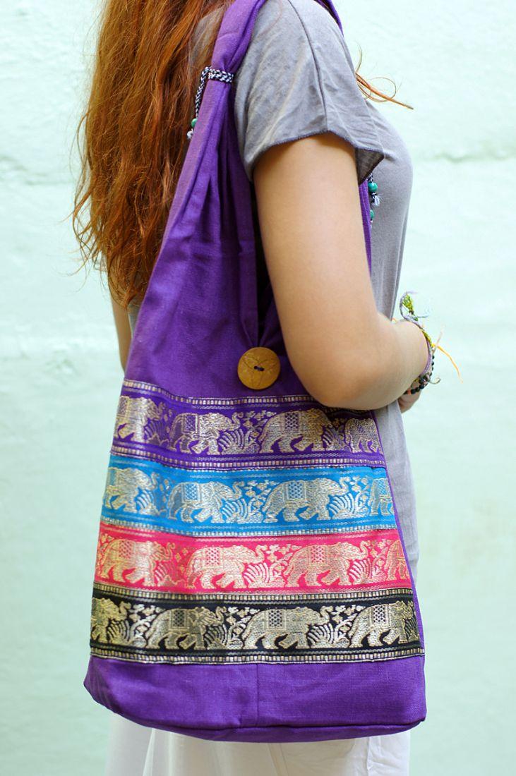 Фиолетовая индийская женская сумка со слонами (отправка из Индии)