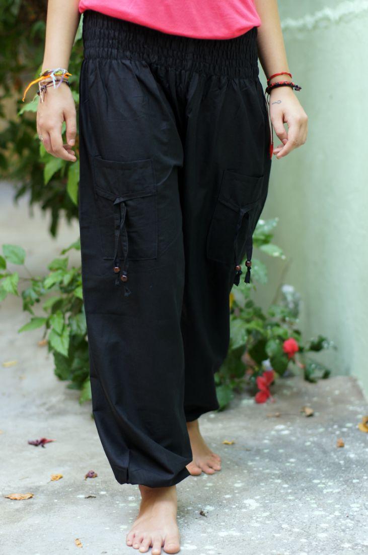 Чёрные женские шаровары с карманами (отправка из Индии)