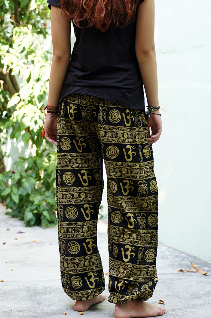 Чёрные женские шаровары с символом ОМ (отправка из Индии)